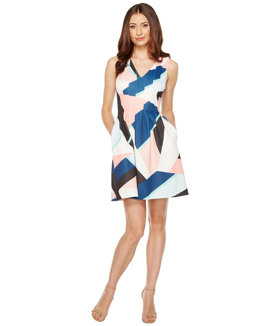 Vince Camuto - Printed Scuba V-Neck Fit and Flare Dress (Blush Multi) Women's Dress