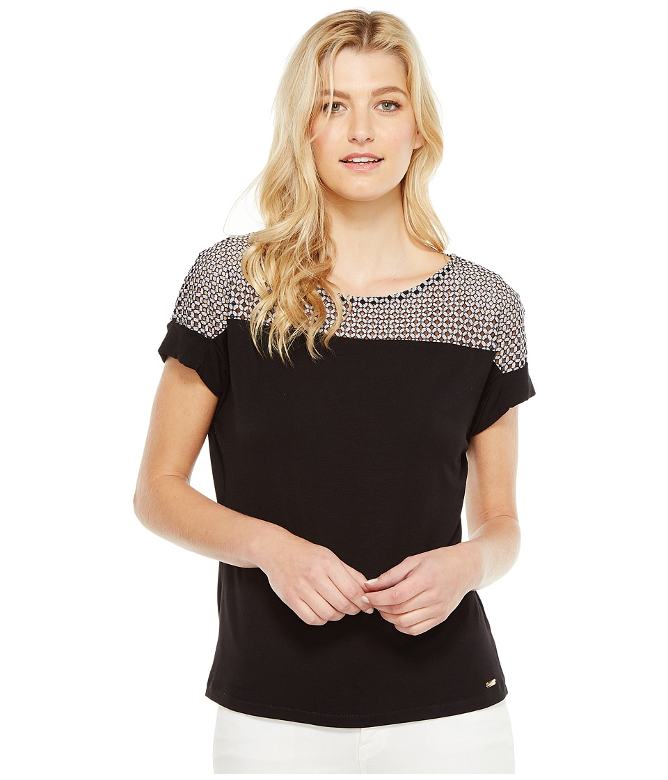 Calvin Klein - Short Sleeve Top with Lace Yoke (Black) Women's Short Sleeve Knit