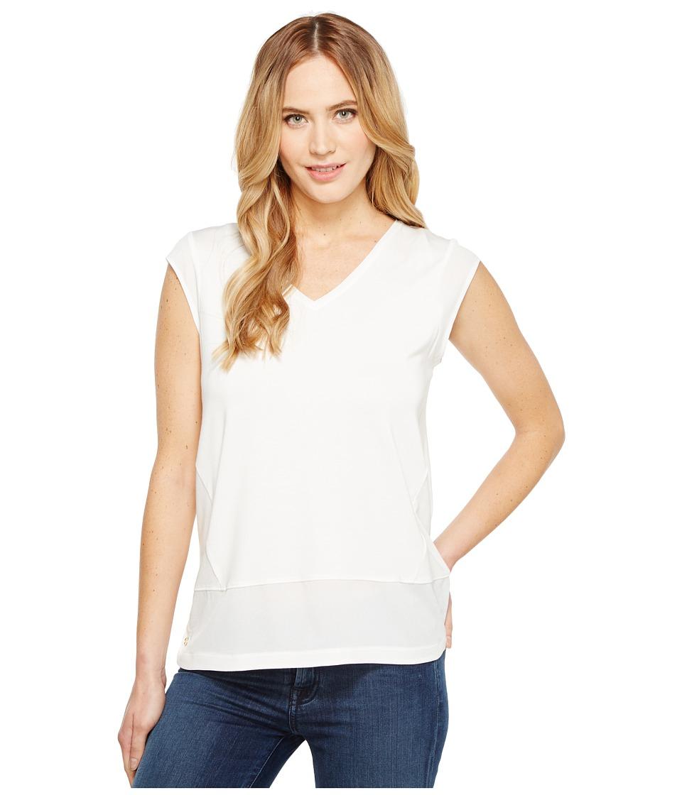 Calvin Klein - Short Sleeve V-Neck with Crepe De Chine Trim (Soft White) Women's Short Sleeve Knit
