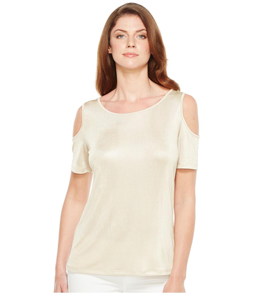 Calvin Klein - Metallic Cold Shoulder Top (Gold) Women's Short Sleeve Knit