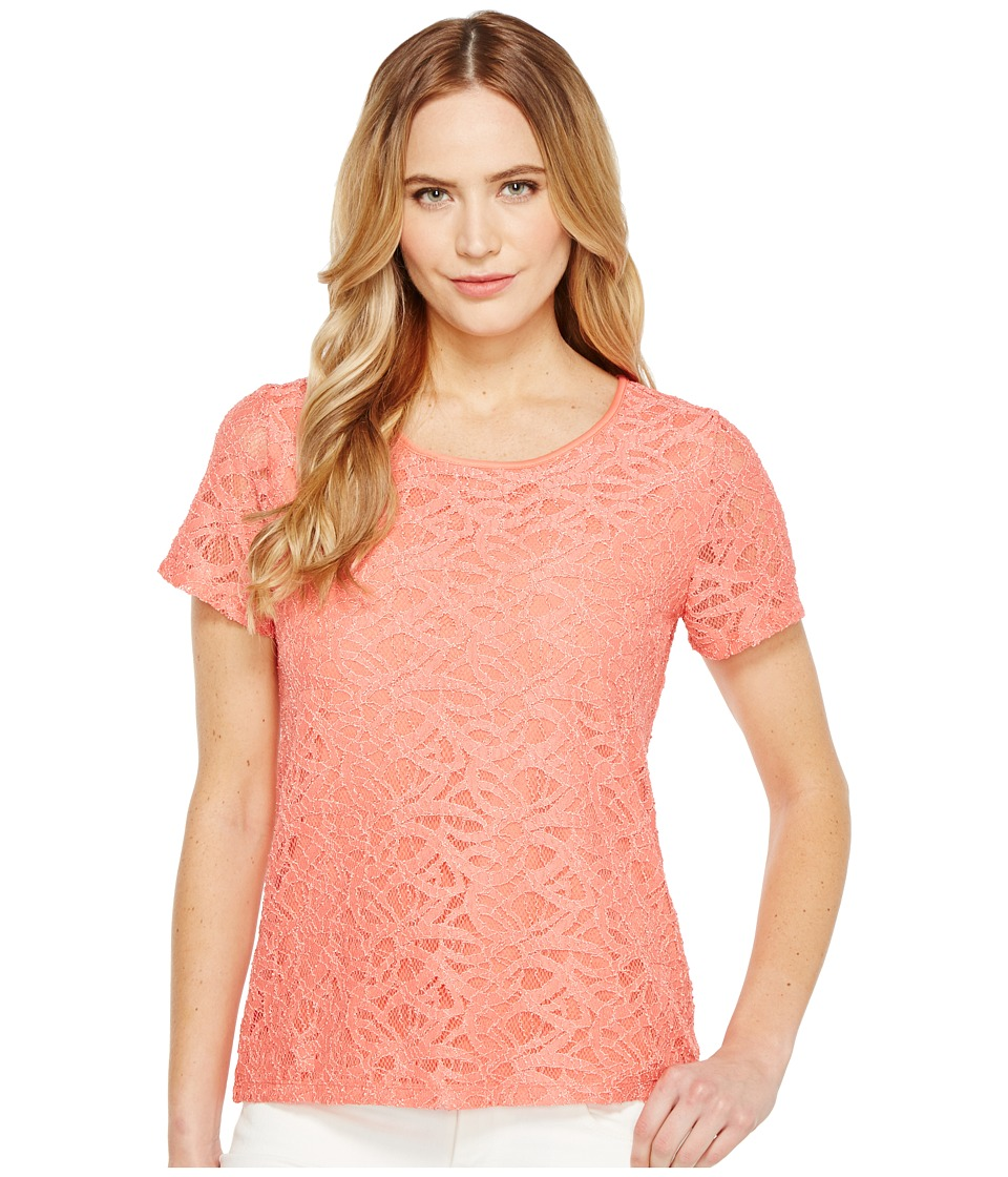 Calvin Klein - Short Sleeve Abstract Lace Top (Porcelain Rose) Women's Short Sleeve Knit