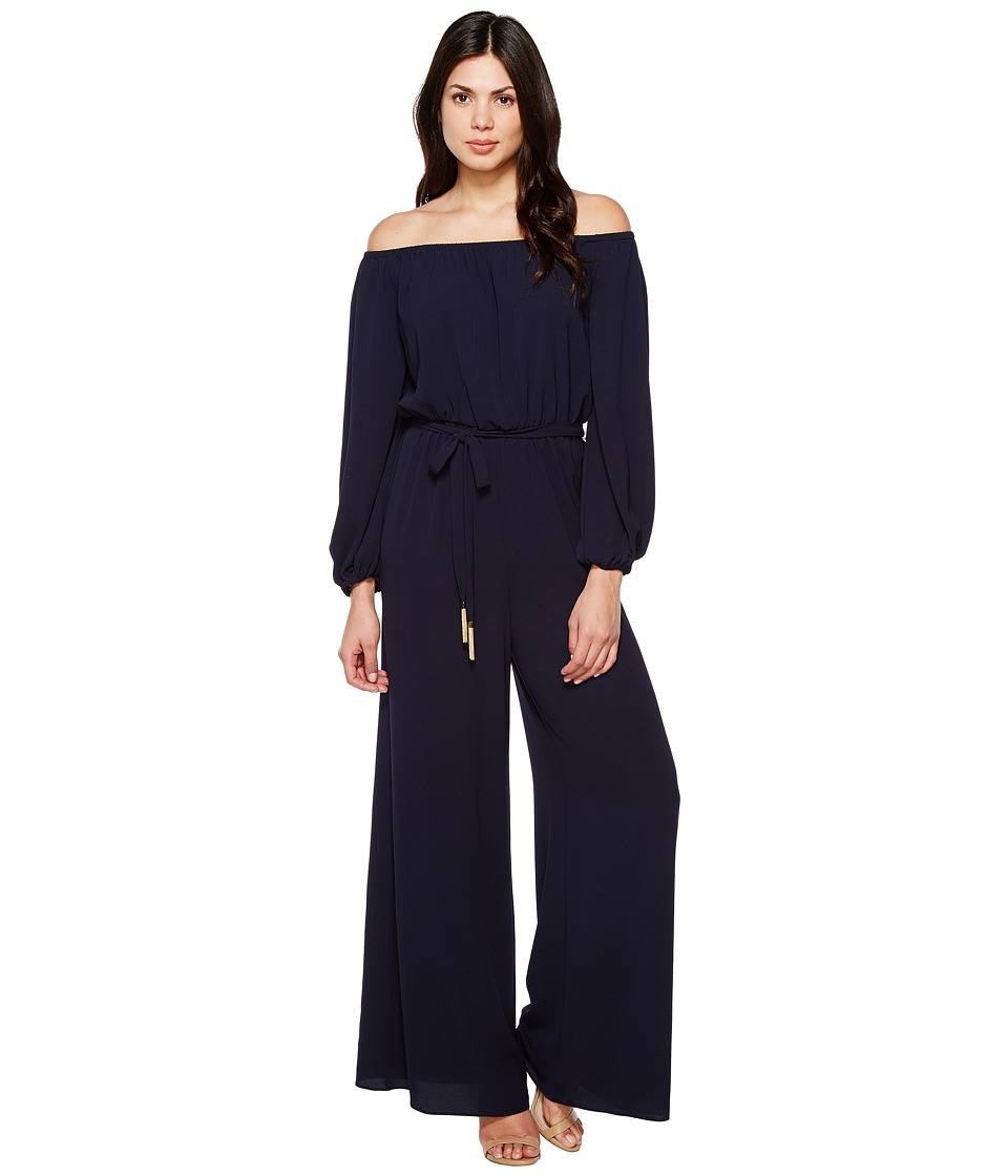 Vince Camuto - Off the Shoulder Long Sleeve Jumpsuit (Navy) Women's Jumpsuit & Rompers One Piece