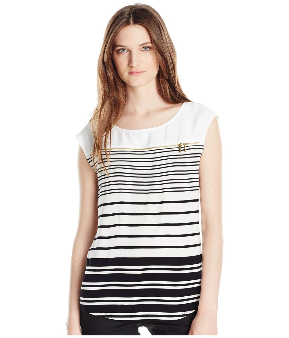 Calvin Klein - Sleeveless Stripe Zipper Top (Black Combo) Women's Sleeveless