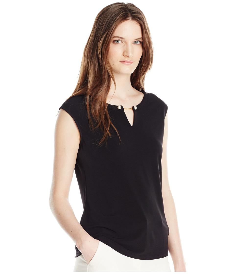 Calvin Klein - Sleeveless Top with Pearl Detail (Black) Women's Sleeveless