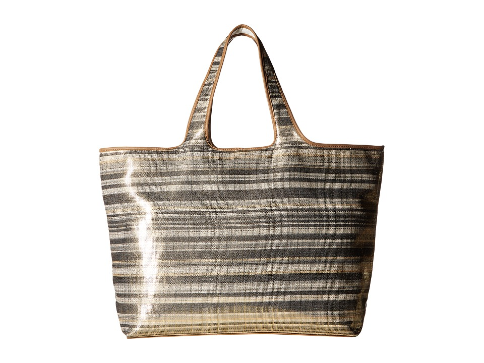 Echo Design - Metallic Stripe Hamptons Tote (Black) Tote Handbags