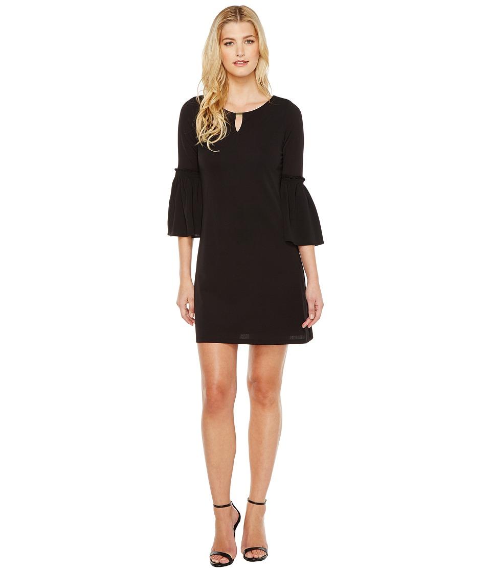 Calvin Klein - Flutter Sleeves Dress with Hardware (Black) Women's Dress