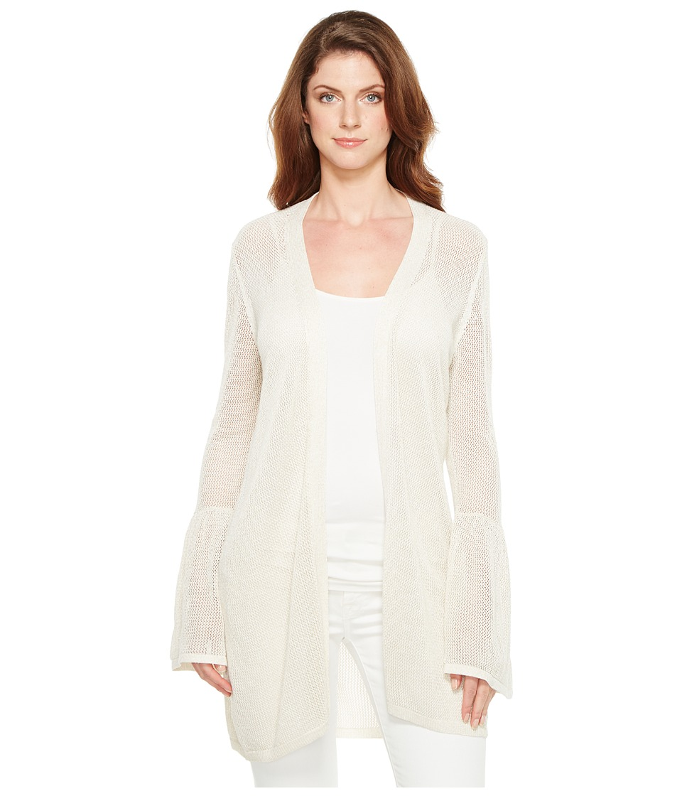 Calvin Klein - Bell Sleeve Cardigan with Lurex (Soft White) Women's Sweater
