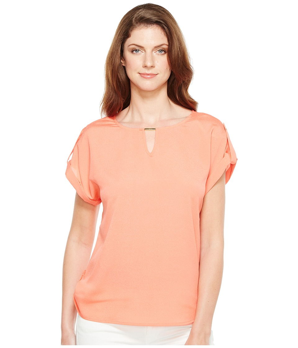 Calvin Klein - Short Sleeve Top with Bar Hardware (Porcelain Rose) Women's Clothing
