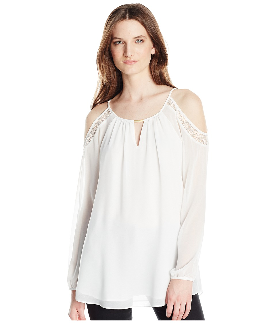 Calvin Klein - Cold Shouder with Lace (Soft White) Women's Blouse