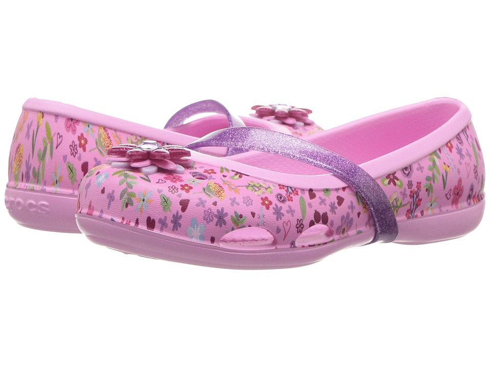 Crocs Kids Lina Graphic Flat GS (Toddler/Little Kid) (Carnation/Iris) Girls Shoes