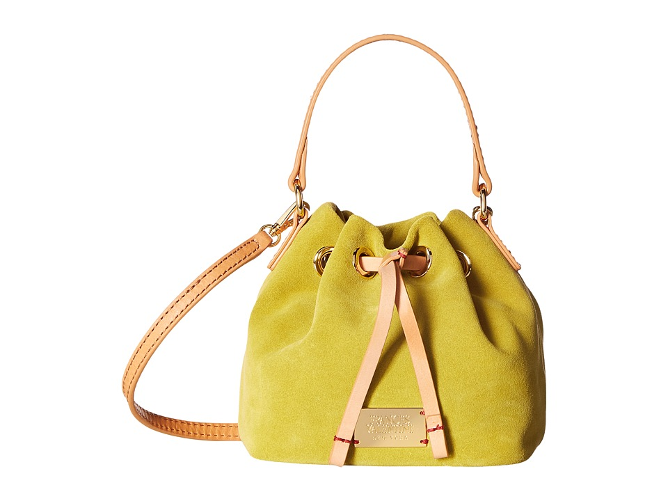 Frances Valentine - Mini Ann Suede Bucket Bag (Lime/Natural) Handbags