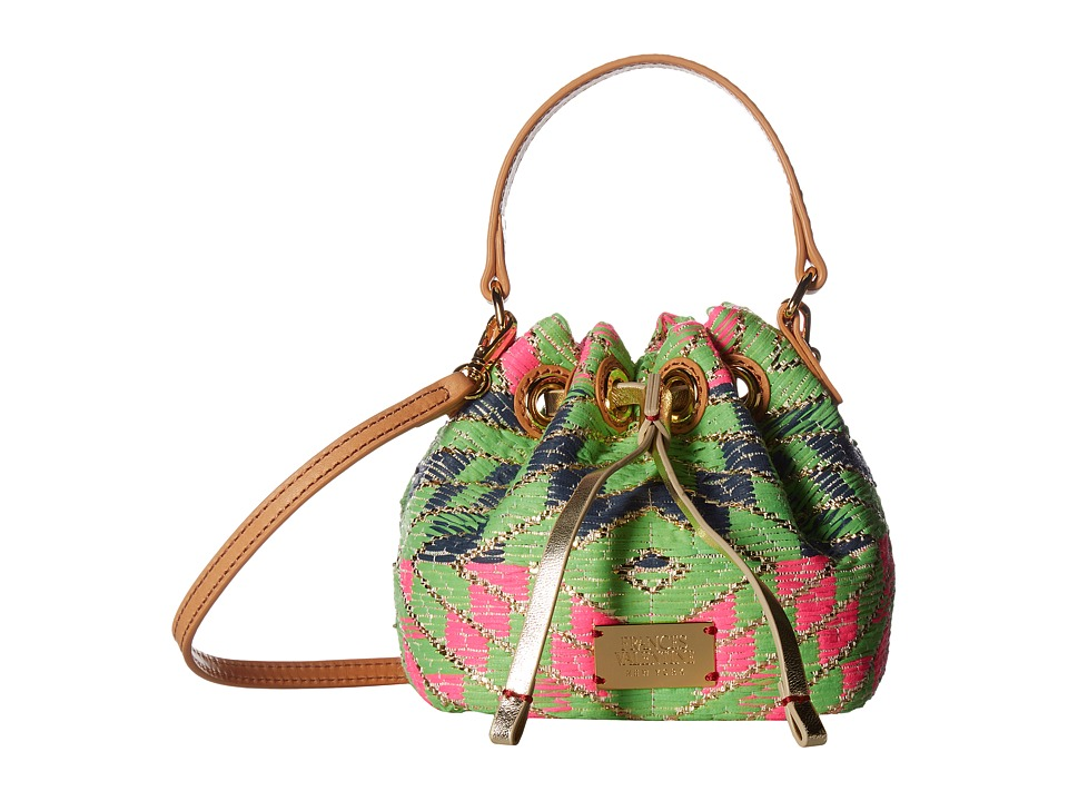 Frances Valentine - Mini Ann Metallic Print Jacquard Bucket Bag (Pink/Green Multi) Handbags