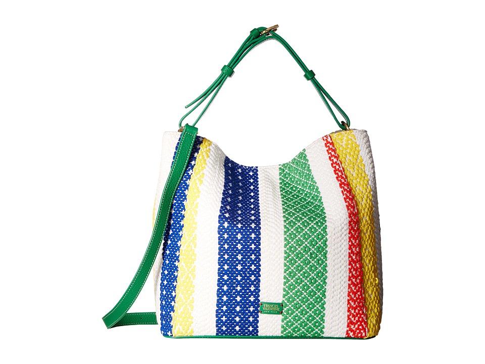 Frances Valentine - New Medium June Woven Stripe Hobo (White Multi) Hobo Handbags