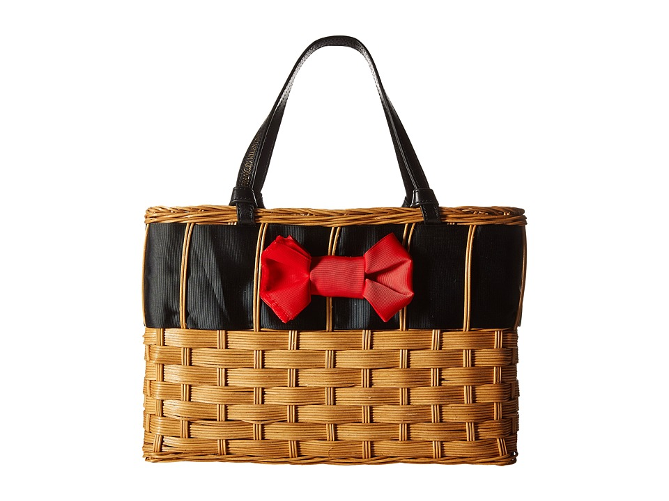 Frances Valentine - Edie Basket with Bow (Natural/Red/Black) Handbags
