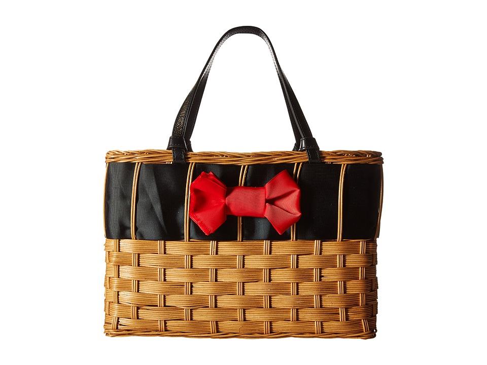Frances Valentine - Edie Basket with Bow (Natural/Red/Black) Handbags
