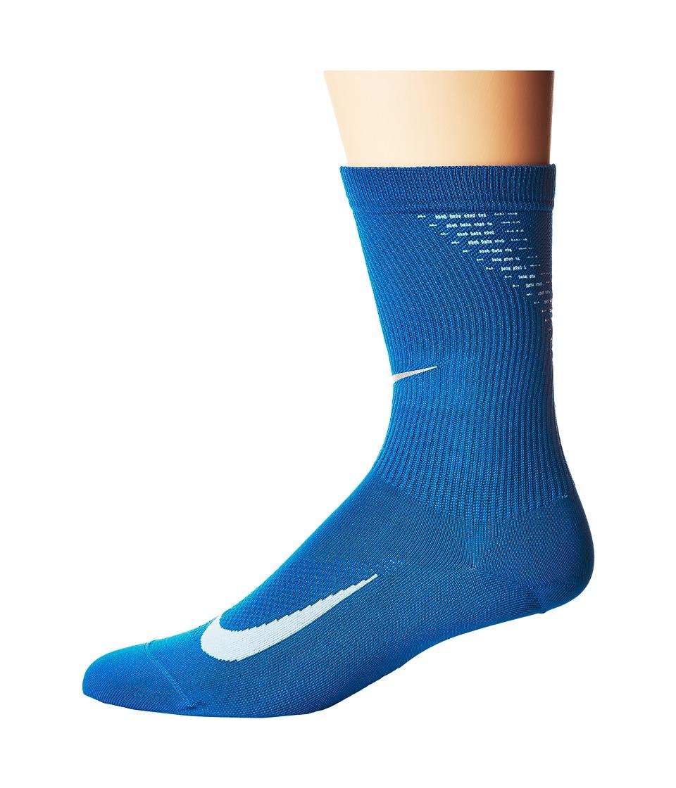 Nike Elite Run Lightweight 2.0 Crew (Blue Jay/Hydrogen Blue) Crew Cut Socks Shoes
