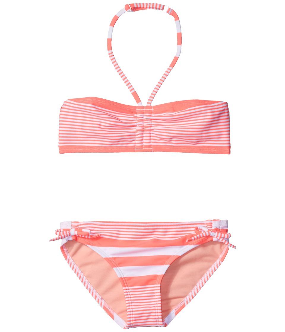 Roxy Kids - Dotsy Roxy Bandeau Set (Big Kids) (Sunset Stripe Combo/Neon Grapefruit) Girl's Swimwear Sets