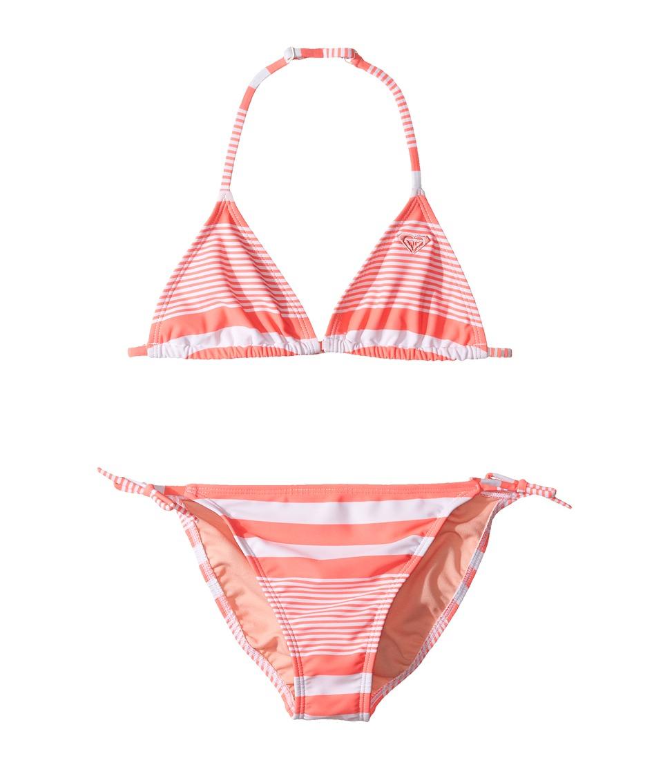 Roxy Kids - Dotsy Tri Set (Big Kids) (Sunset Stripe Combo/Neon Grapefruit) Girl's Swimwear Sets