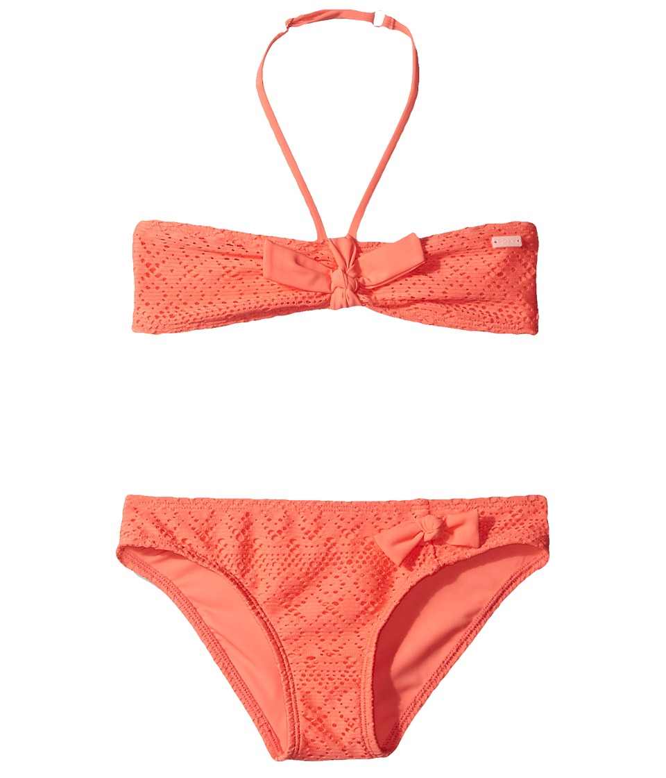 Roxy Kids - Girly Bandeau Set (Big Kids) (Sugar Coral) Girl's Swimwear Sets