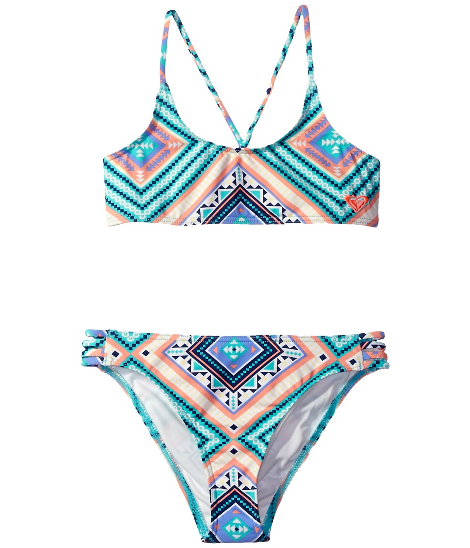 Roxy Kids - Hippie College Athletic Set (Big Kids) (Pool Blue/Free Spirit) Girl's Swimwear Sets