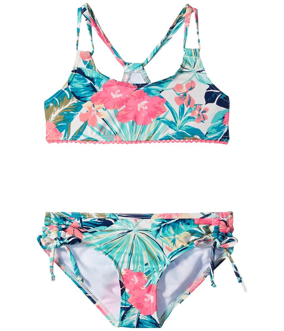 Roxy Kids - Jungle Poem Athletic Set (Big Kids) (Marshmallow/Tac-O-Tac Flower) Girl's Swimwear Sets