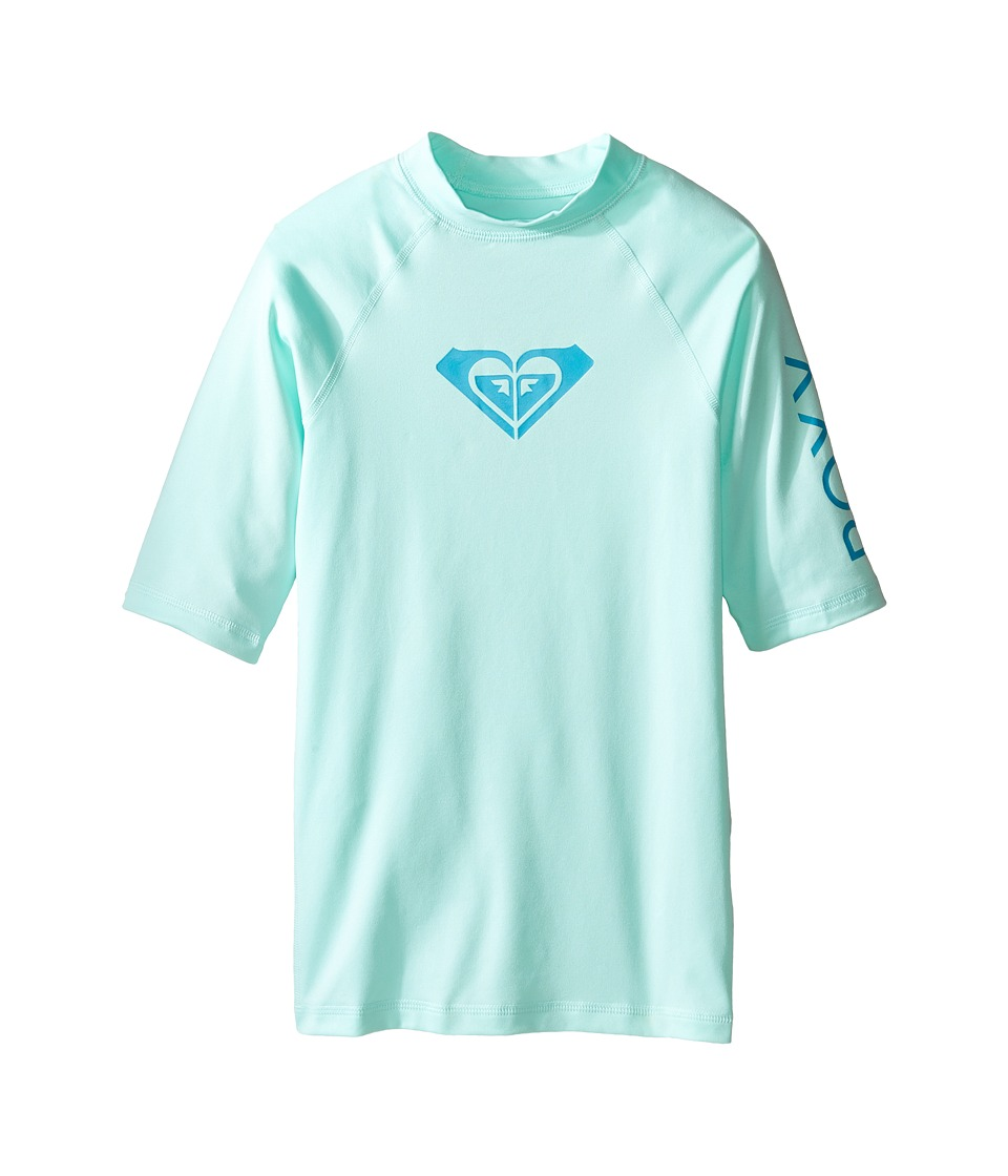 Roxy Kids - Whole Hearted Short Sleeve Rashguard (Big Kids) (Beach Glass) Girl's Swimwear