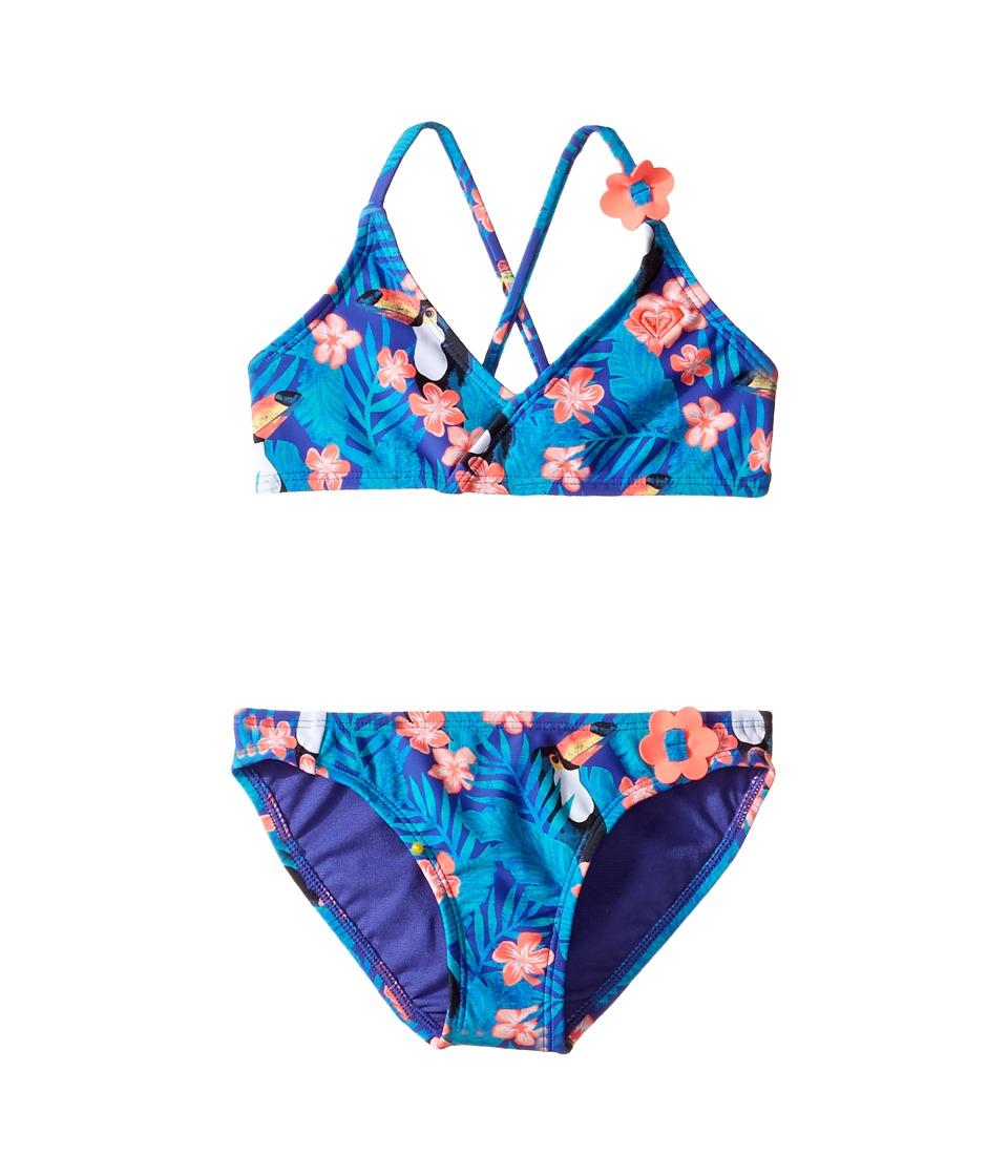 Roxy Kids - Little Tropics Athletic Set (Toddler/Little Kids/Big Kids) (Toucan Tango/New Royal Blue) Girl's Swimwear Sets
