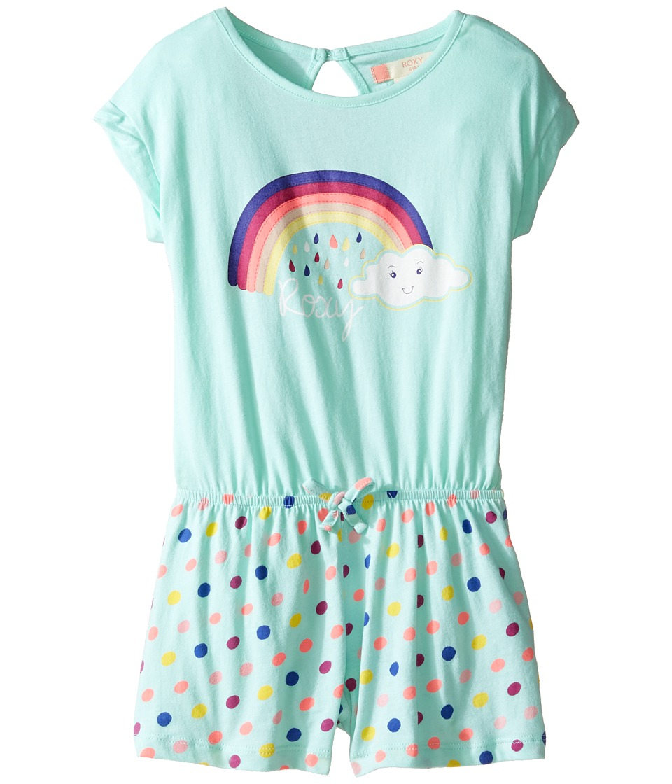 Roxy Kids - Rainbow Dots Knit Romper Cover-Up (Toddler/Little Kids/Big Kids) (Beach Glass/Toudou Dots) Girl's Swimsuits One Piece