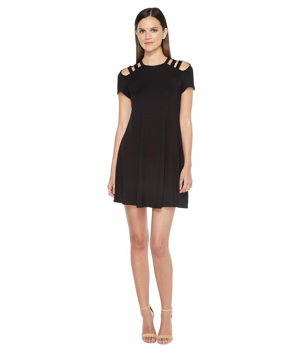 Culture Phit - Jewel Short Sleeve Dress with Shoulder Cut Out Detail (Black) Women's Dress
