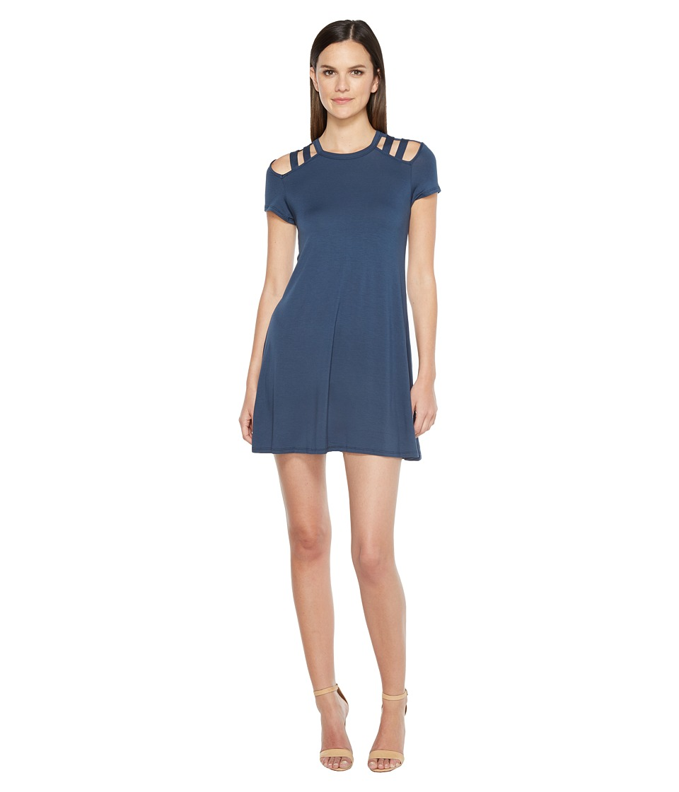 Culture Phit - Jewel Short Sleeve Dress with Shoulder Cut Out Detail (Navy) Women's Dress