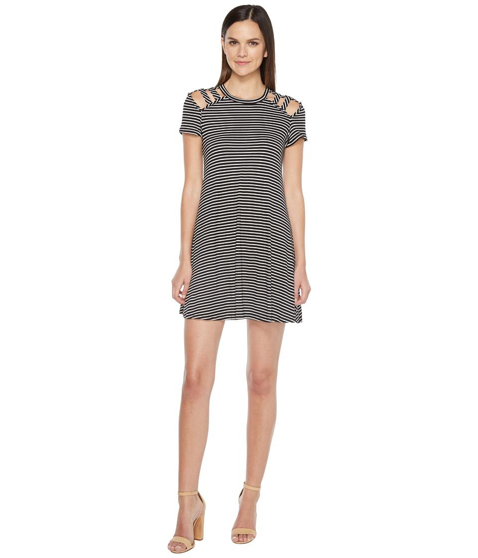 Culture Phit - Jewel Short Sleeve Dress with Shoulder Cut Out Detail (Black/White) Women's Dress