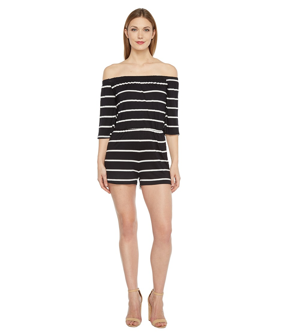 Culture Phit - Essie Off the Shoulder Romper (Black/White) Women's Jumpsuit & Rompers One Piece