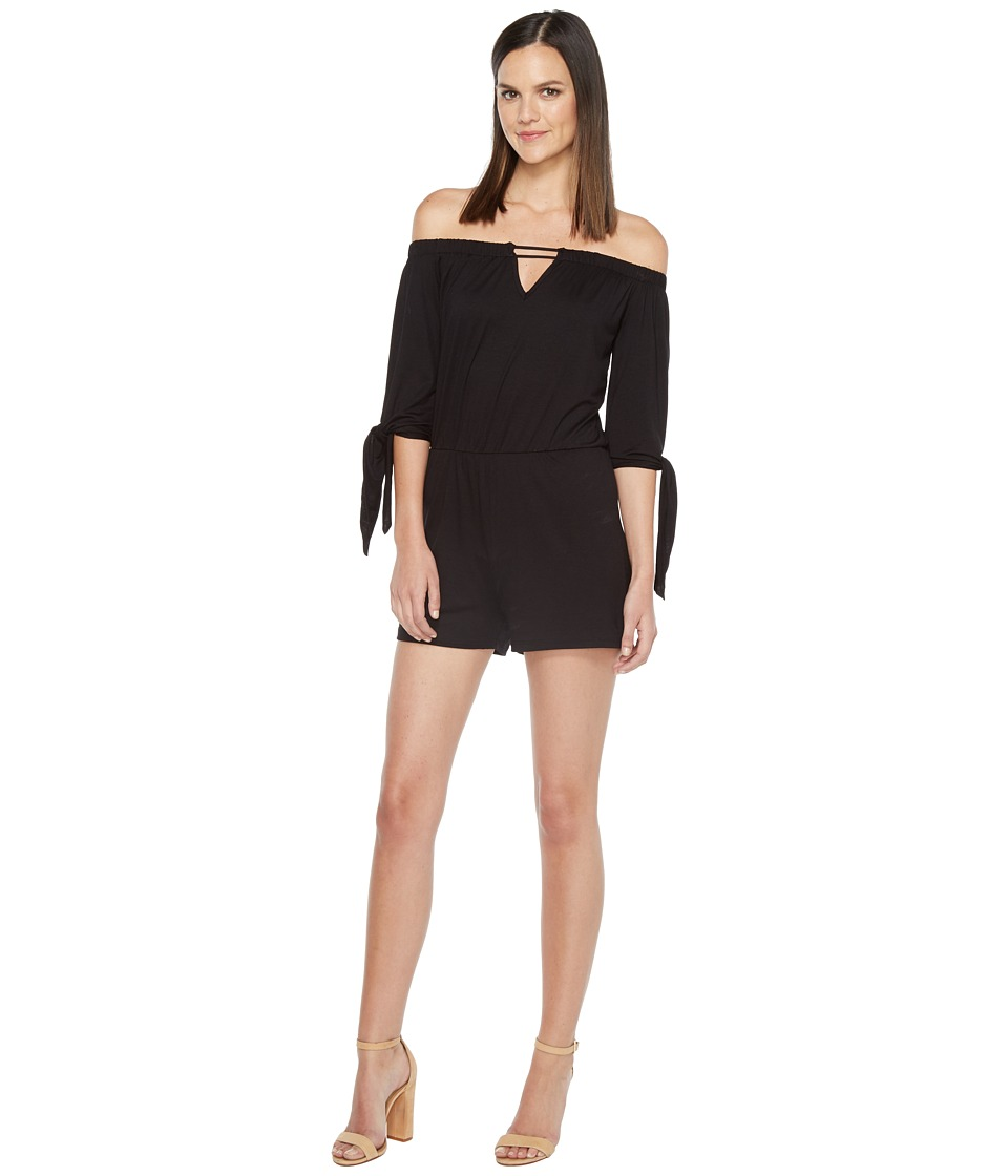 Culture Phit - Ripley Off the Shoulder Keyhole Romper (Black) Women's Jumpsuit & Rompers One Piece