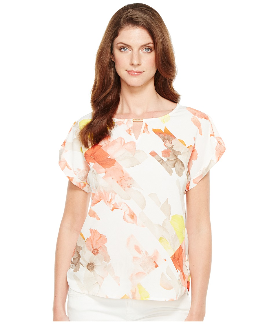 Calvin Klein - Printed Top with Hardware (Porcelain Rose/Soft White Multi) Women's Blouse