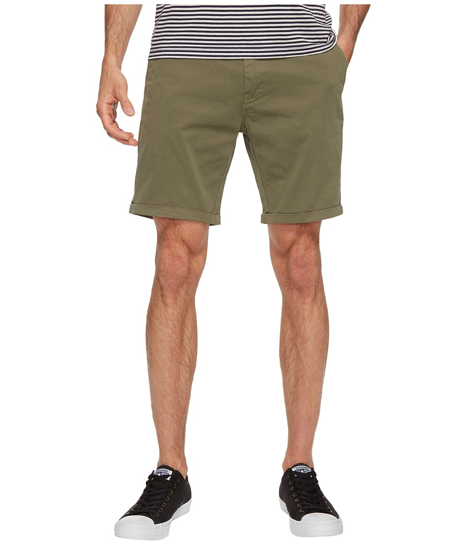 Scotch & Soda - Classic Garment Dyed Chino Shorts in Stretch Cotton Quality (Army) Men's Shorts