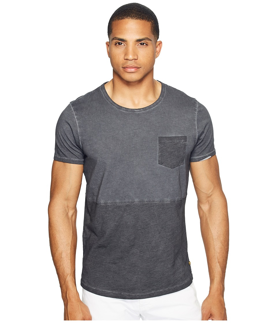 Scotch & Soda - Tee in Lightweight Jersey Quality with Cut Sewn Styling and Uneven Hem (Black Melange) Men's T Shirt