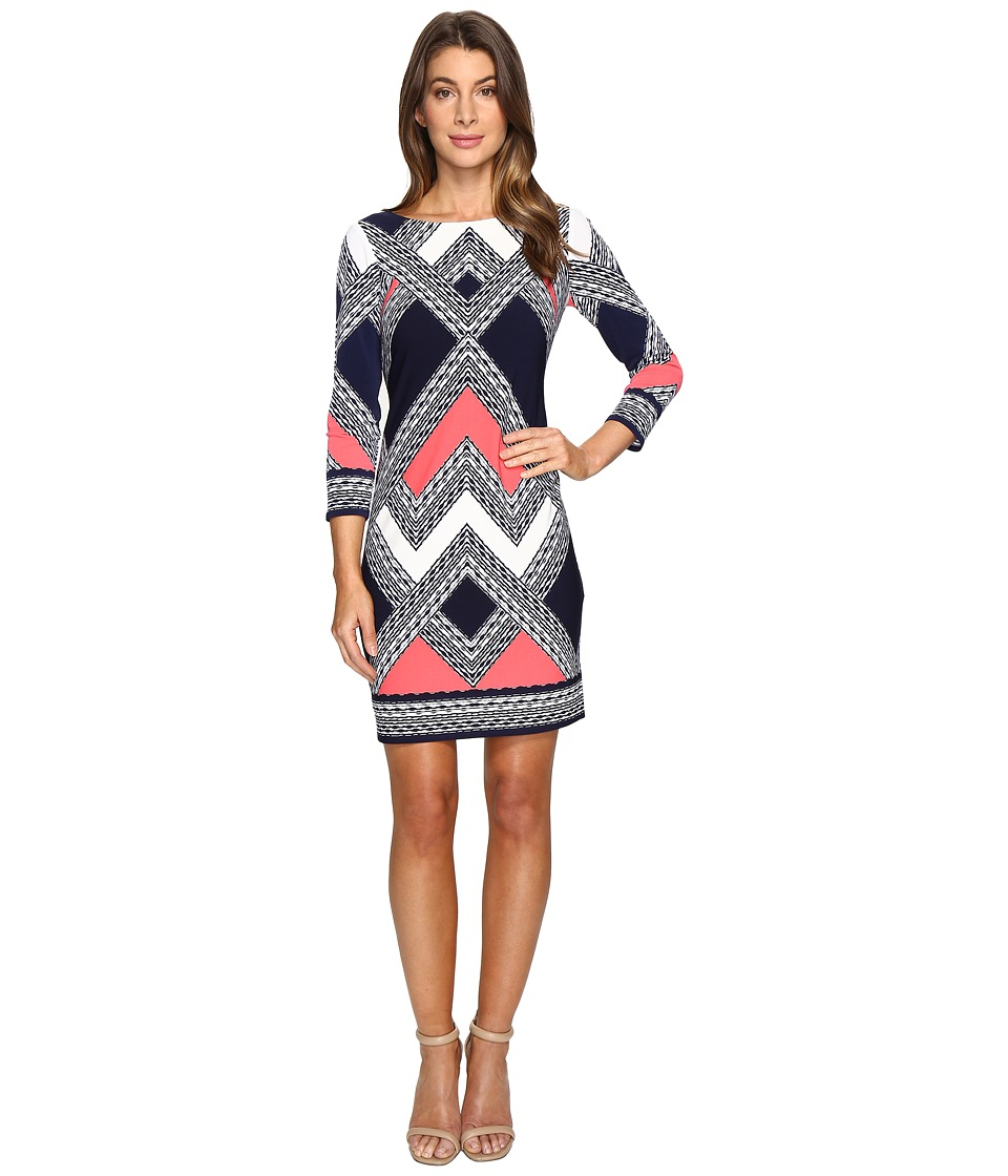 Vince Camuto - Moss Crepe T-Body Dress with Long Sleeves (Navy Multi) Women's Dress