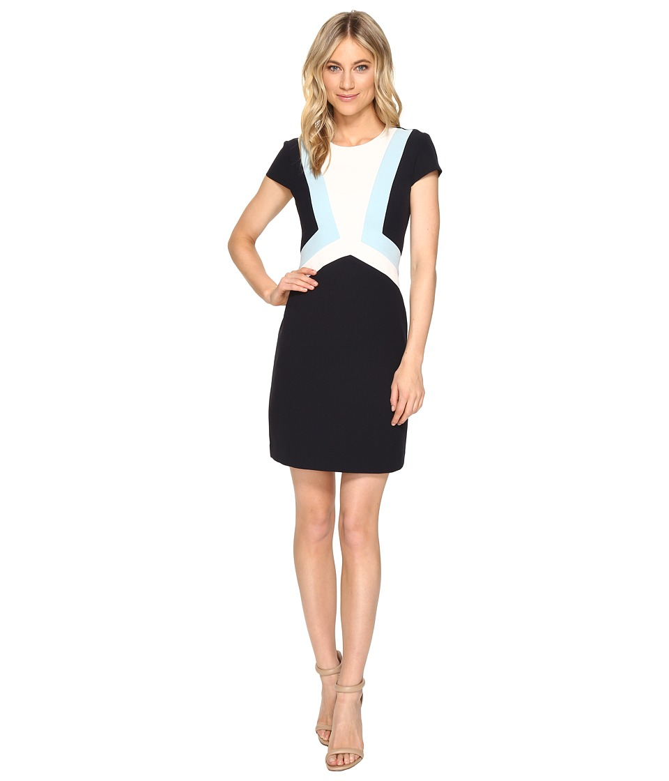 Vince Camuto - Crepe Cap Sleeve Color Block Shift Dress (Navy Blue) Women's Dress