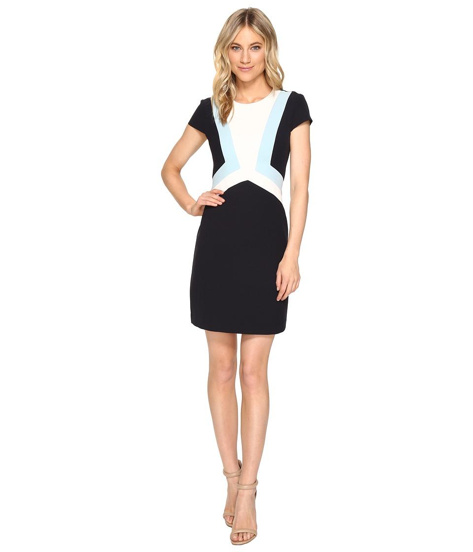 Vince Camuto - Crepe Cap Sleeve Color Block Shift Dress (Navy Blue) Women's Dress