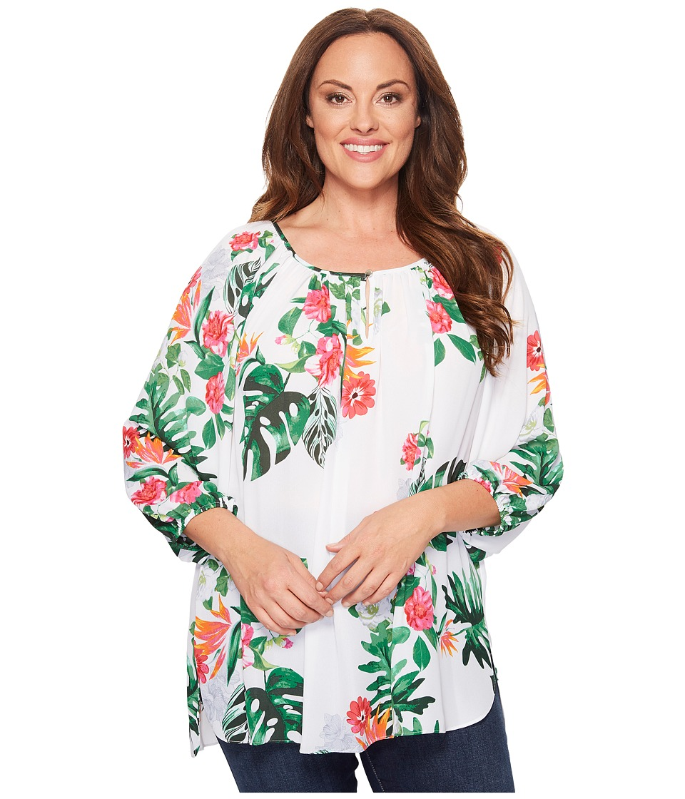 Vince Camuto Specialty Size - Plus Size Havana Tropical High-Low Hem Peasant Blouse (Ultra White) Women's Blouse