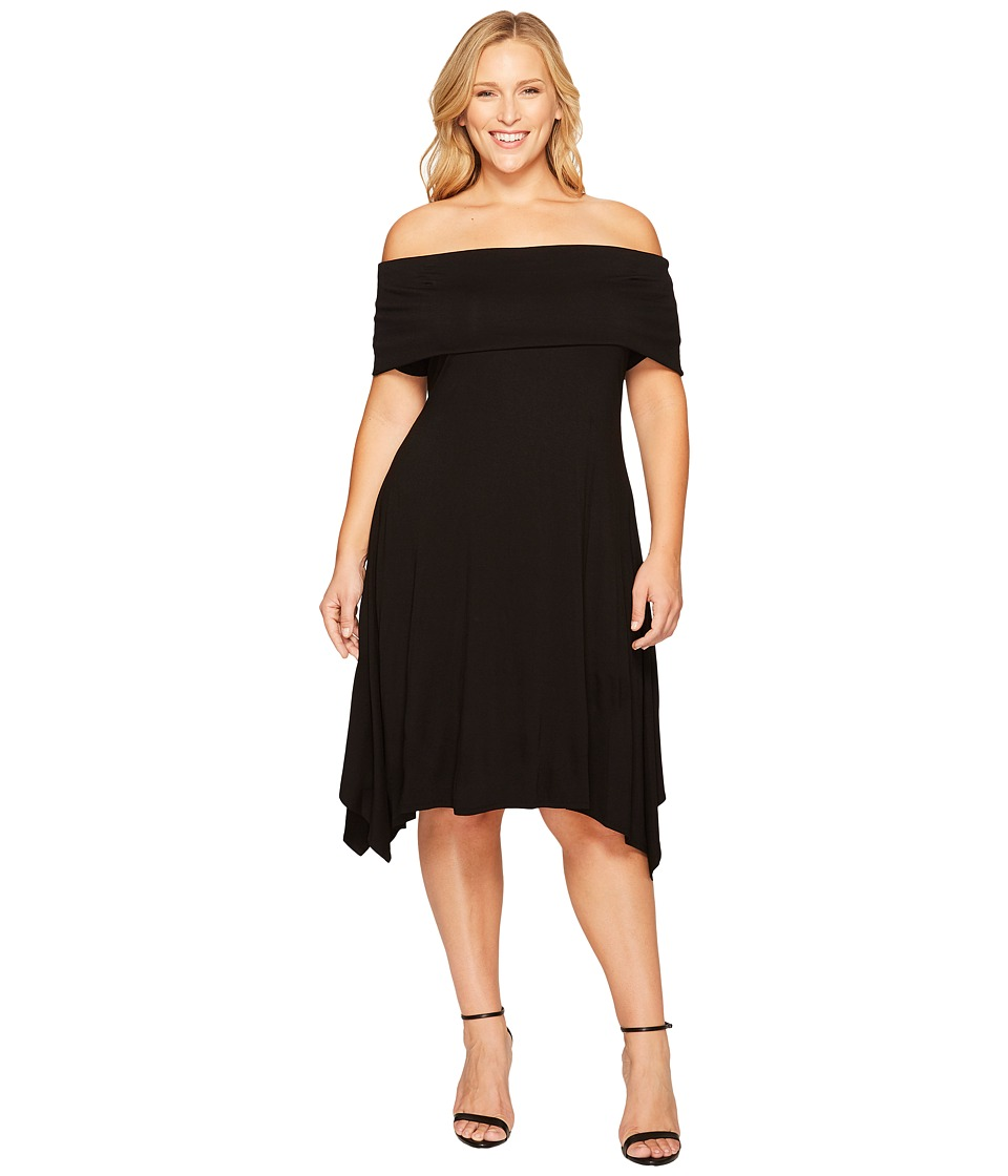Vince Camuto Specialty Size - Plus Size Elbow Sleeve Off Shoulder Sharkbite Dress (Rich Black) Women's Dress