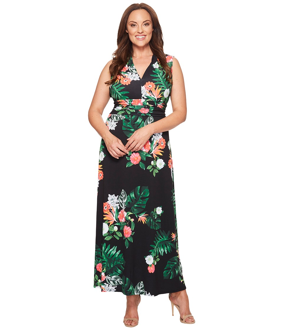 Vince Camuto Specialty Size - Plus Size Sleeveless Havana Tropical Halter Maxi Dress (Rich Black) Women's Dress