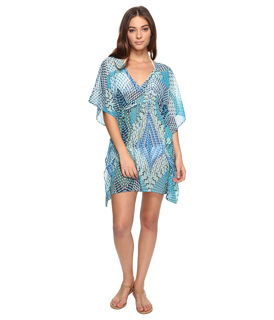 Echo Design - Havana Geo Silky Butterfly Cover-Up (Brilliant Blue) Women's Swimwear