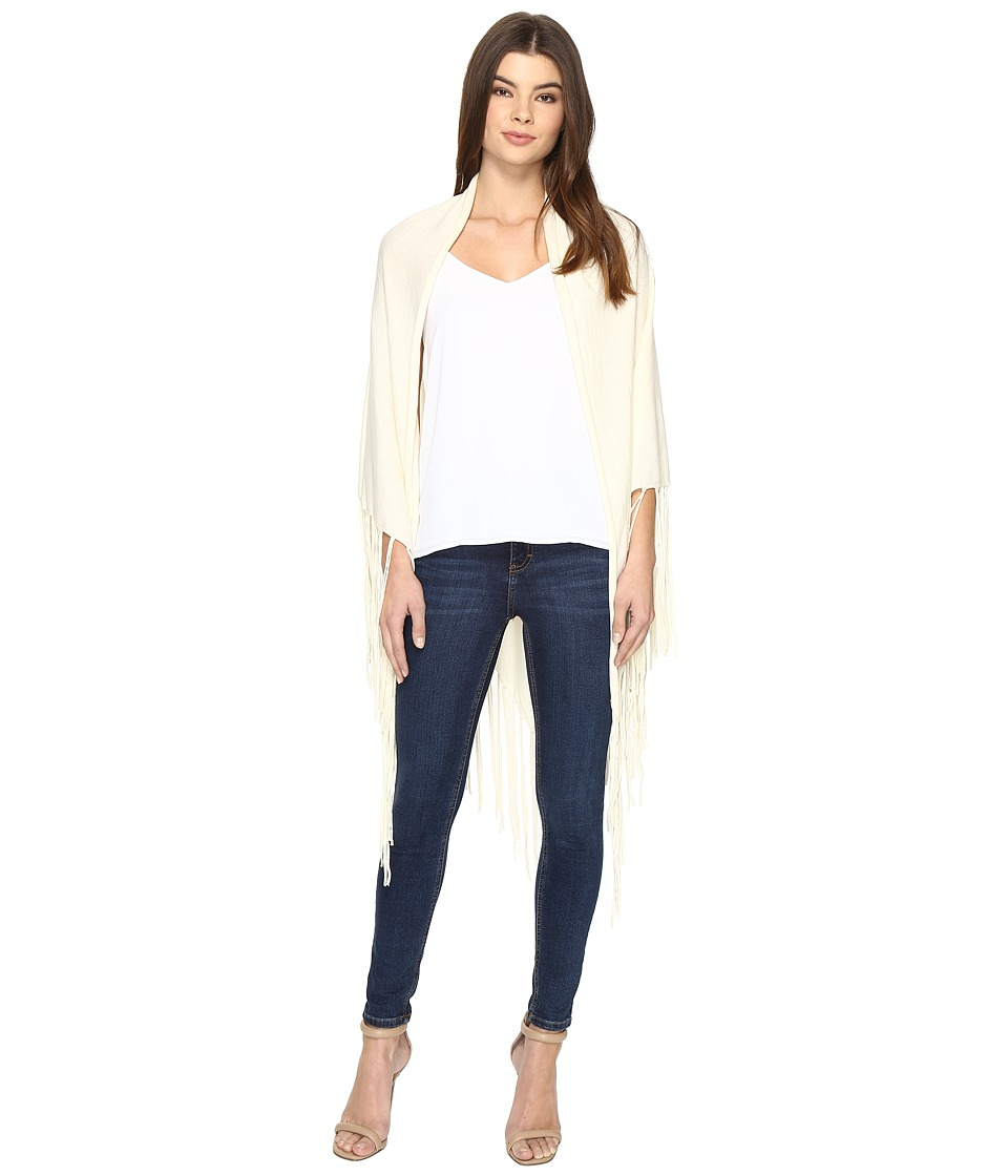 Nicole Miller - Fringe Wrap (Cream) Women's Sweater