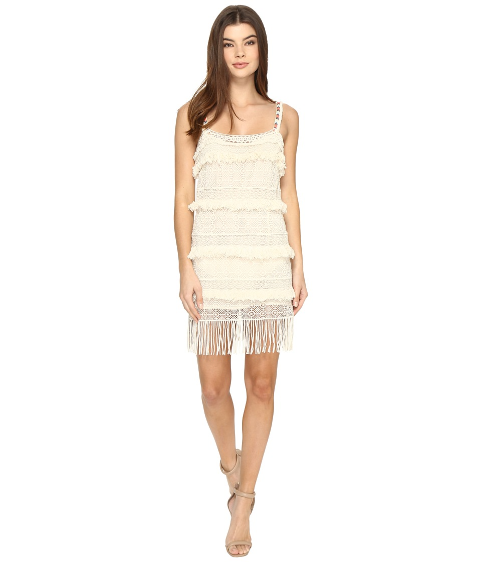 Nicole Miller - La Plage By Nicole Miller Bobo Fringe Twofer Cover-Up Dress (Cream) Women's Swimwear
