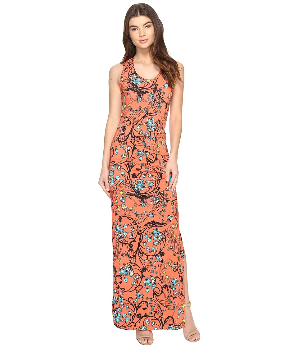 Nicole Miller - Floral Nouveau Vanessa Maxi (Hot Coral) Women's Dress