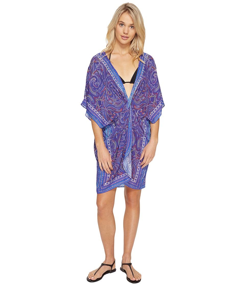 Echo Design - La Playa Paisley Twist Tunic Cover-Up (Brilliant Blue) Women's Swimwear