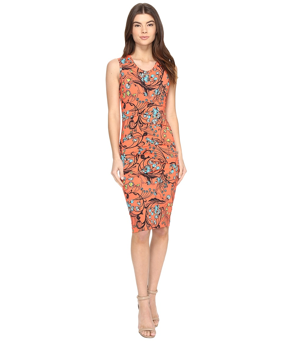 Nicole Miller - Floral Nouveau Jersey Dress (Hot Coral) Women's Dress