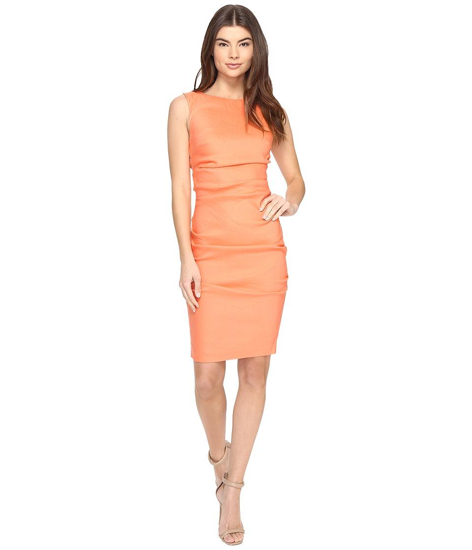 Nicole Miller Lauren Stretch Linen Dress (Aloha Coral) Women
