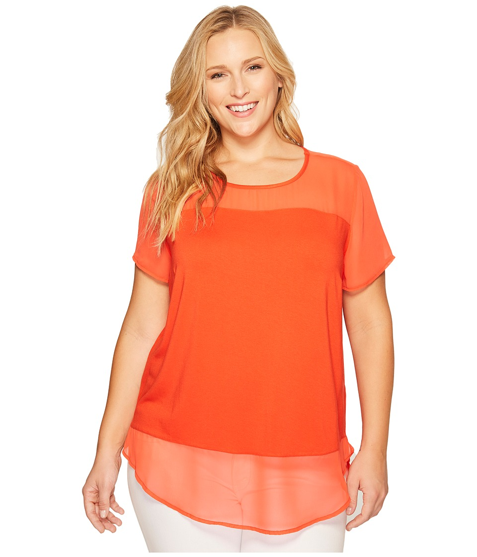 Vince Camuto Specialty Size - Plus Size Short Sleeve Mix Media Top w/ Poly Chiffon Yoke/Hem (Red Hot) Women's Clothing